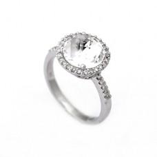 Кольцо с бриллиантами и кварцем