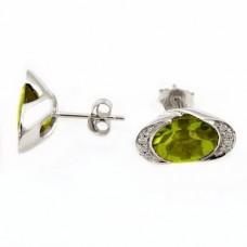 Серьги с бриллиантами и оливин