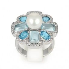 Кольцо с бриллиантами, топазами, жемчугом