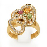 Кольцо с бриллиантами и полудрагоценными камнями