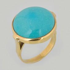Кольцо из желтого золота с бирюзой