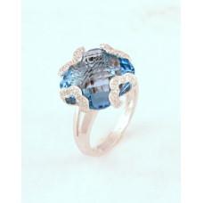 Кольцо c бриллиантами и топазами