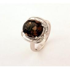 Кольцо c бриллиантами и топазом