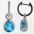 Серьги с бриллиантами и топазами