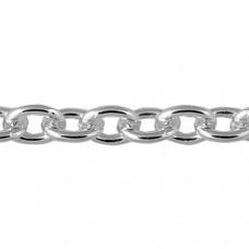 Серебряная цепь Якорная простая родированная 035